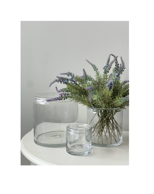 GLASS VASE WITH ROLLED RIM SML - MIN 6