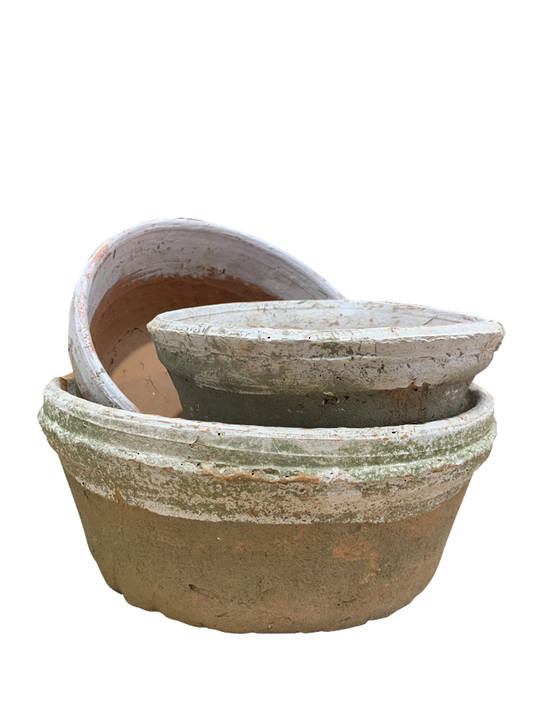 ANTIQUED REDSTONE WITH WHITE RIM DISH POT SET 3