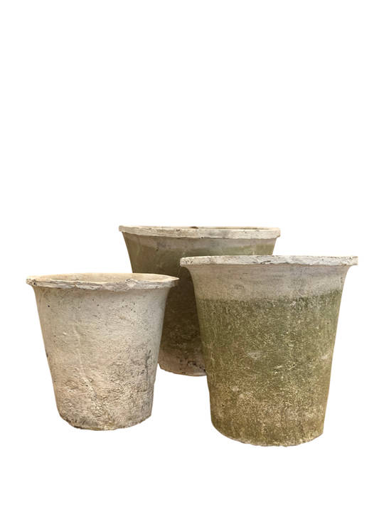 ANTIQUED WHITESTONE AZALEA POT SET 3