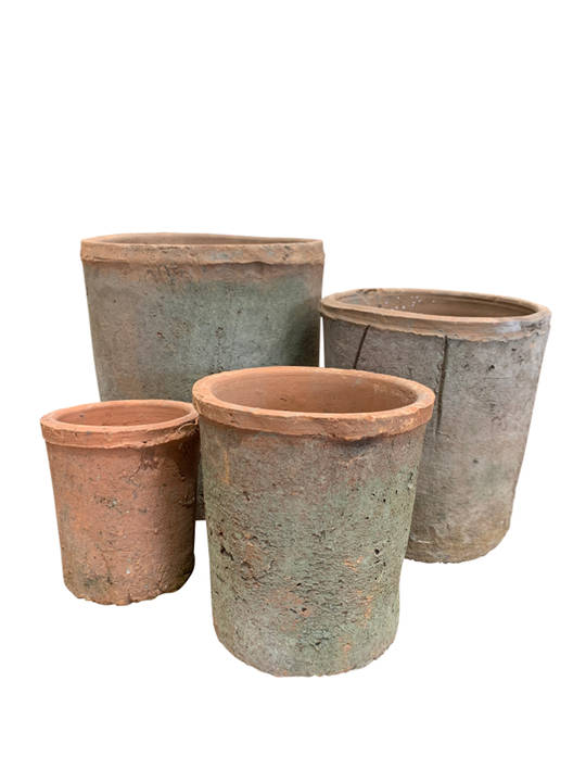 ANTIQUED REDSTONE CYLINDER POT SET 4