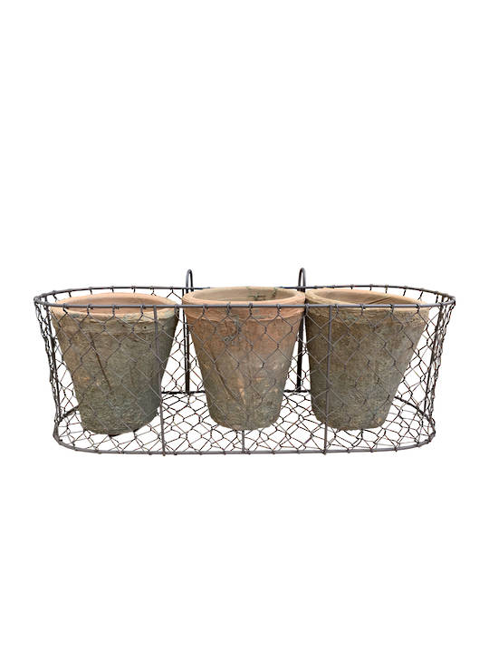 WIRE BASKET WITH 3 PCS ANTIQUED REDSTONE ROSE POTS