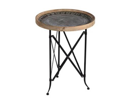 CLASSIC VINTAGE WOOD AND METAL ROUND SIDE TABLE