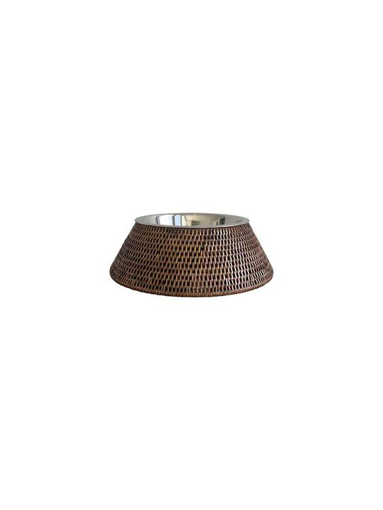 PET FOOD/WATER BOWL WITH RATTAN SLEEVE