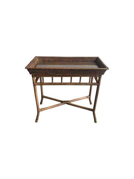 MANDALAY DESIGN CONSOLE TABLE W/ RATTAN LEGS WITH GLASS INSERT