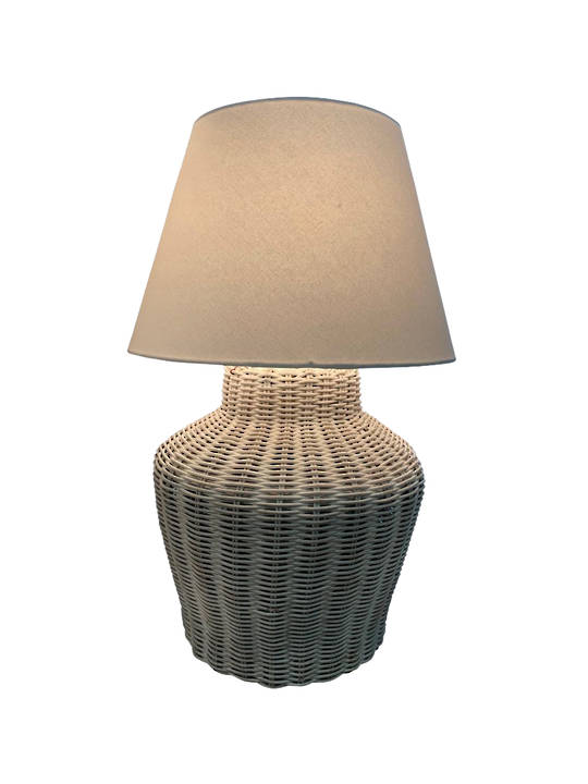 RATTAN WHITE LAMP BASE SMALL WIRED