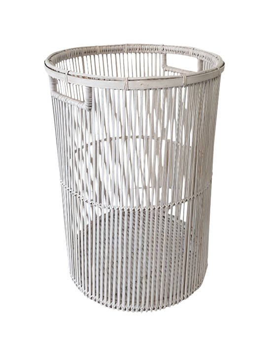 BAMBOO AND RATTAN LAUNDRY BASKET