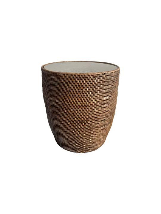 DRUM SIDE TABLE WITH GLASS SHEET BROWN