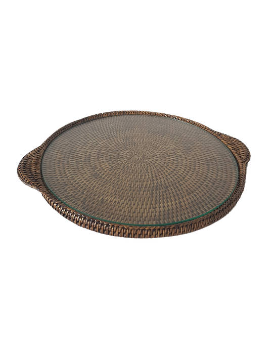BROWN ROUND CHEESE TRAY LARGE WITH GLASS