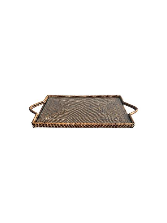 BROWN RECTANGULAR CHEESE TRAY WITH GLASS INSERT