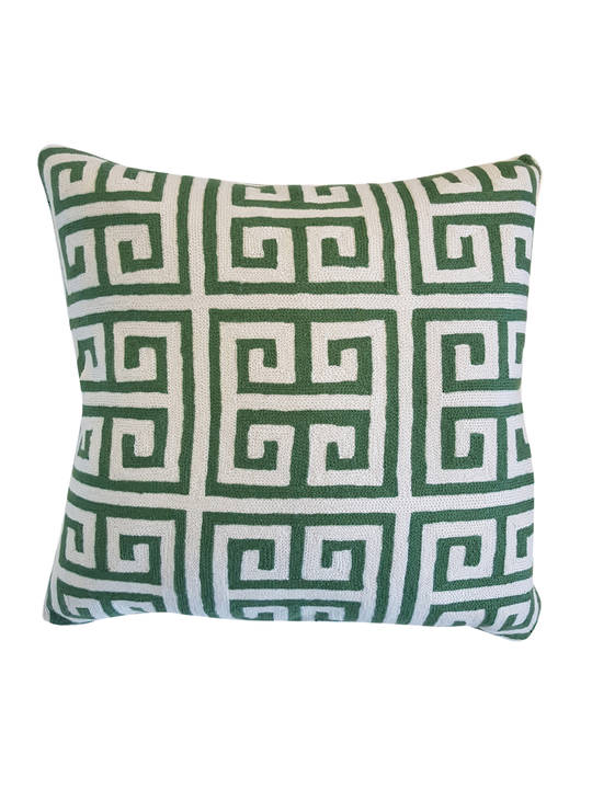CUSHION COVER GREEN/WHITE  GREEK KEY