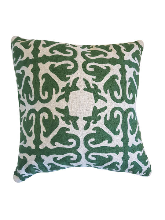 CUSHION COVER GREEN/WHITE SERIES MORROCO