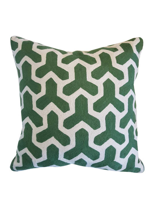 CUSHION COVER GREEN/WHITE  MARAKESH