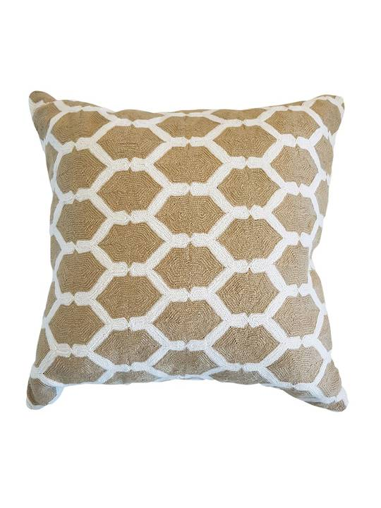 CUSHION COVER  BEIGE/WHITE CHAIN