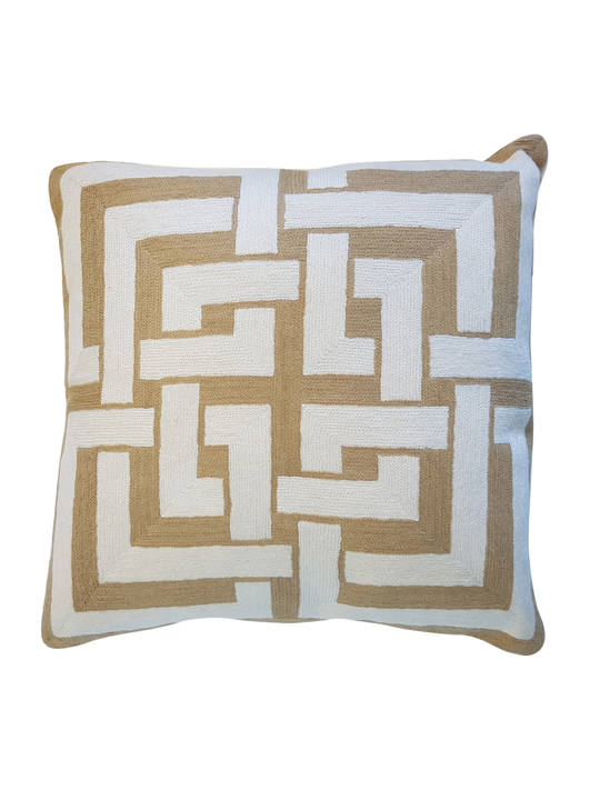 CUSHION COVER MEHDEEB BEIGE/WHITE  INTERLOCKING