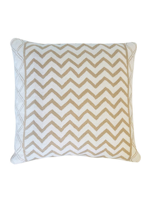 CUSHION COVER BEIGE/WHITE  WAVES