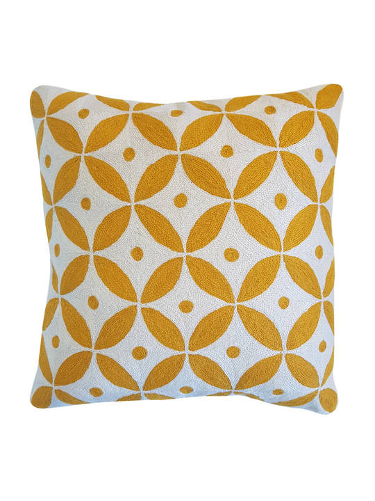 CUSHION COVER OCHRE/WHITE  GEOMETRIC