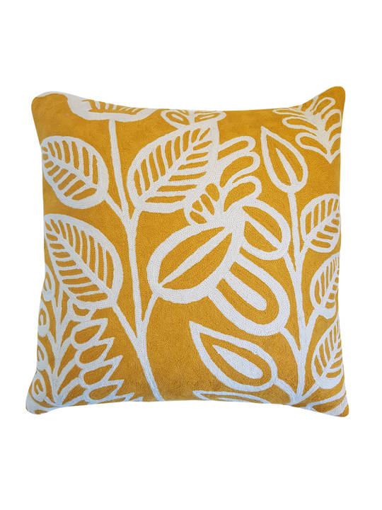 CUSHION COVER OCHRE/WHITE  LEAFY