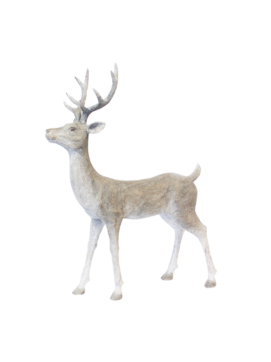 STANDING DEER RESIN SOFT GREY