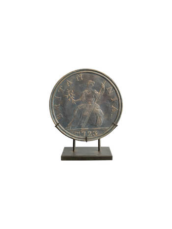 ANTIQUE OLD COIN ON STAND