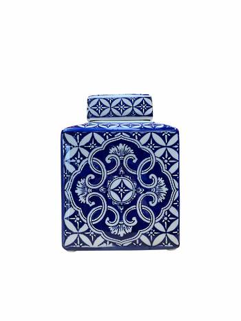 SMALL IKAT DESIGN VASE WITH LID