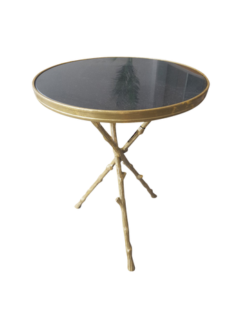ANTIQUE BRASS SIDE TABLE MARBLE TOP
