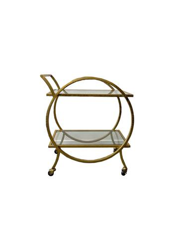 ANTIQUE GOLD 2 TIER TROLLEY WITH GLASS TOPS