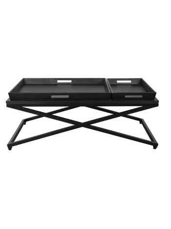 CHICAGO COFFEE TABLE BLACK WITH CROSSED METAL FRAME
