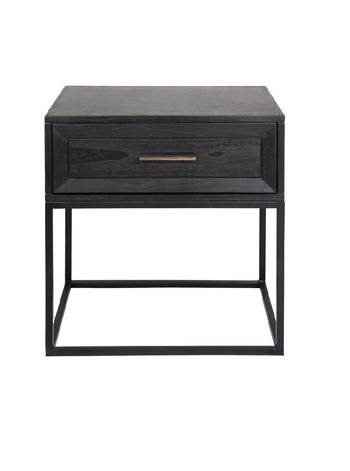 CHICAGO SIDE TABLE BLACK WITH METAL FRAME