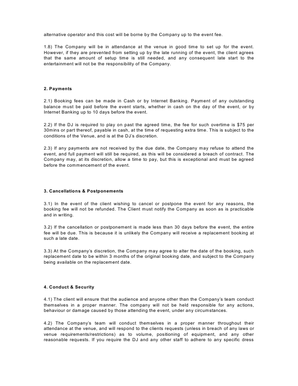 LTFL Booking Form T&C's3