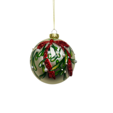 GLASS BALL WITH VINE AND BOW DECORATION (12)