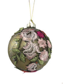 CHAMPAGNE GLASS BALL WITH FLORAL DECORATION (6)