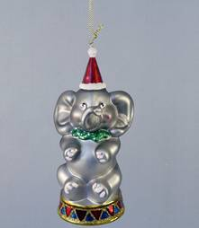 GLASS ELEPHANT ON STAND HANGER (6)