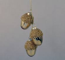SET 3 GLASS GOLD ACORNS (6)