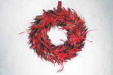 LARGE RED FEATHER WREATH