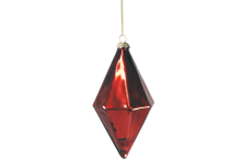 RED GLASS 14CMH DIAMOND HANGER (12)