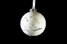 WHITE MATT GLASS BALL WITH SILVER DETAILED DESIGN HANGER (6)