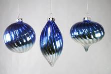 SET 3 BLUE SILVER GLASS HANGERS (2)