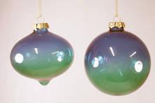 SET2 BLUE GREEN GLASS HANGERS (6)