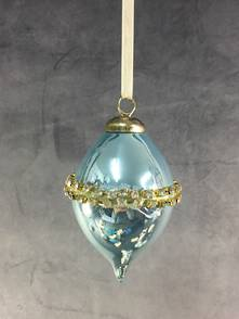 BLUE OPALESCENT GLASS FINIAL WITH DIAMANTE BAND (12)