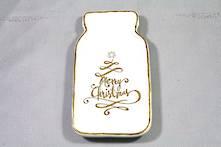 MERRY CHRISTMAS CREAM/GOLD STONEWARE DISH (6)
