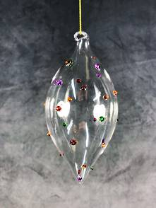 13.5CMH GLASS FINIAL WITH MULTICOLOUR SPOTS (12)