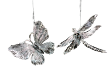SET2, SILVER / WHITE DRAGONFLY AND BUTTERFLY