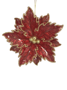 RED/ GOLD POINSETTIA HANGER