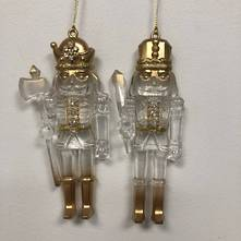 SET2 GOLD/CLEAR HANGING NUTCRACKERS
