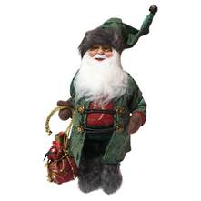 30CMH STANDING SANTA IN GREEN ROBES