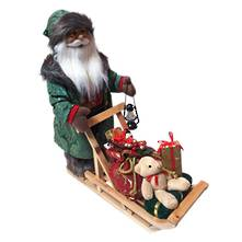 45CMH SANTA PUSHING SLEIGH IN GREEN ROBES