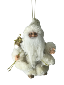13CMH  SANTA HANGING ORNAMENT IN IVORY/GOLD (6)