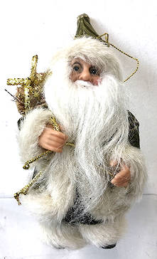 13CMH SANTA  HANGING ORNAMENT IN GREEN/BEIGE (6)