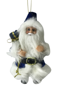 13CMH  SANTA HANGING ORNAMENT IN BLUE/WHITE (6)