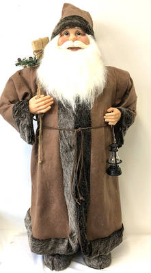 90CMH STANDING SANTA IN BROWN/BLACK HOLDING A GIFT BAG